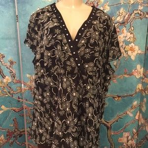 Notations Black Print Lined Faux Wrap Tunic Top
